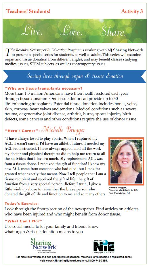 Michelle Brugger Article - Week3 - Why Are Tissue Transplants Necessary?